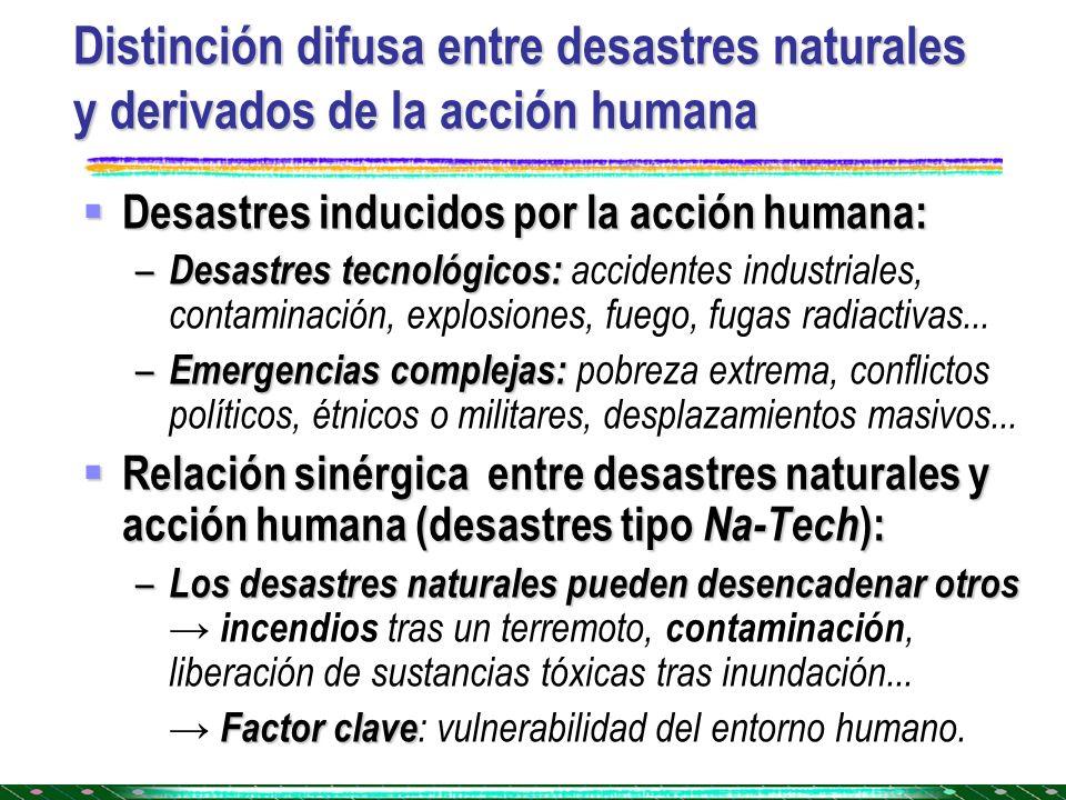Distinción difusa entre desastres naturales y derivados de la acción humana