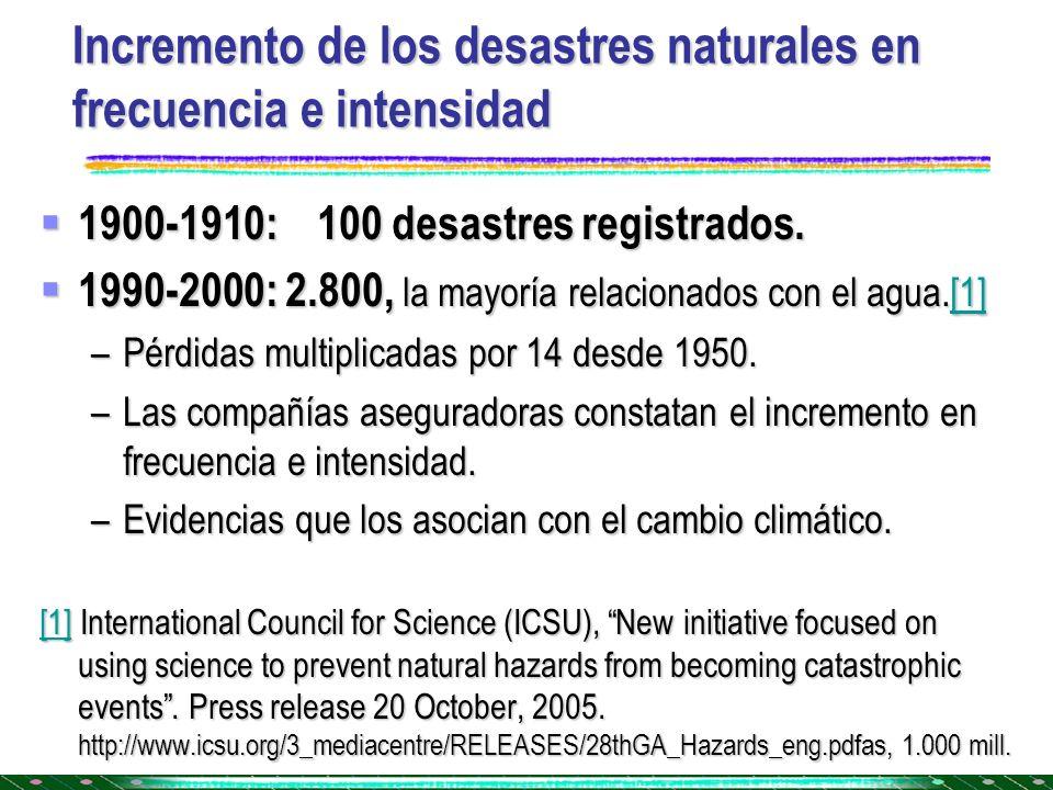 Incremento de los desastres naturales en frecuencia e intensidad