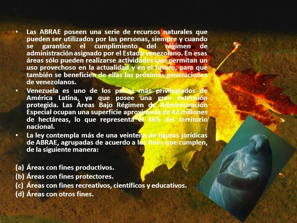 Las ABRAE poseen una serie de recursos naturales que pueden ser utilizados por las personas, siempre y cuando se garantice el cumplimiento del régimen de administración asignado por el Estado venezolano. En esas áreas sólo pueden realizarse actividades que permitan un uso provechoso en la actualidad y en el futuro, para que también se beneficien de ellas las próximas generaciones de venezolanos.