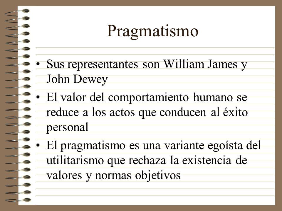Pragmatismo Sus representantes son William James y John Dewey