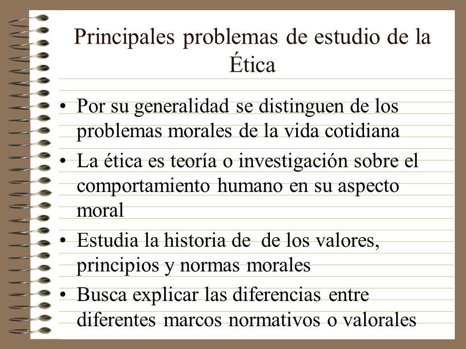 Principales problemas de estudio de la Ética