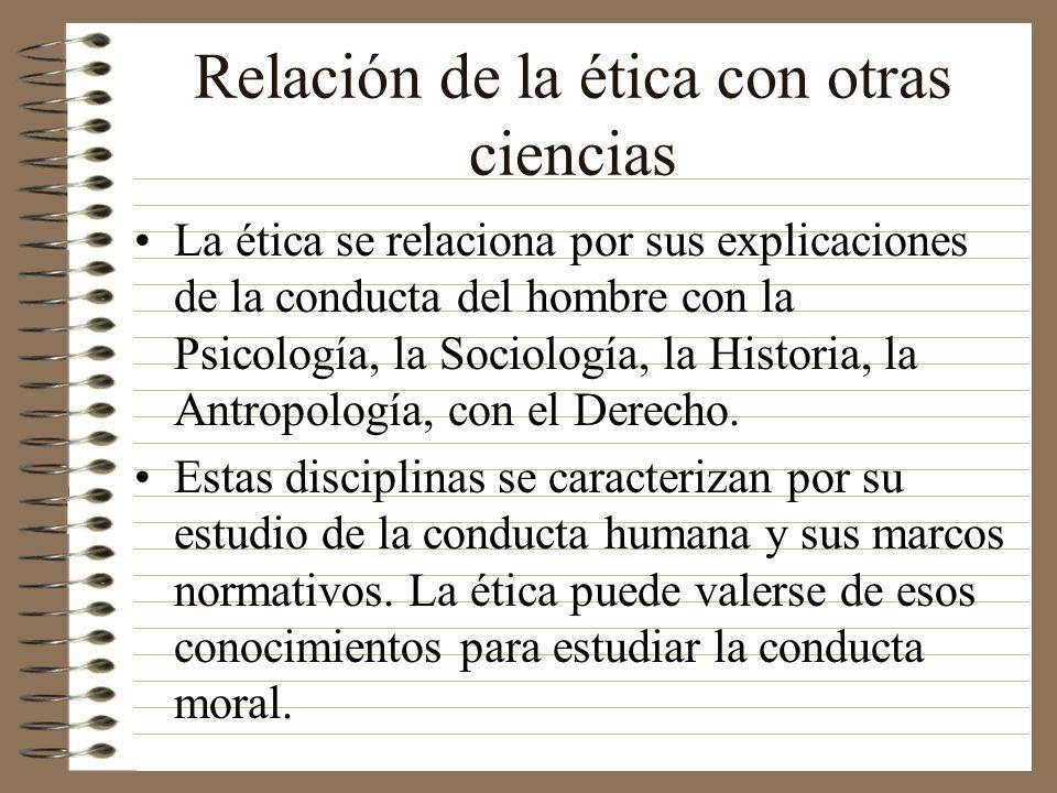 Relación de la ética con otras ciencias