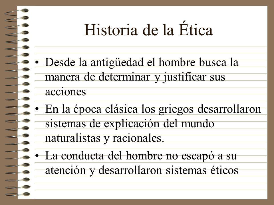 Historia de la Ética Desde la antigüedad el hombre busca la manera de determinar y justificar sus acciones.