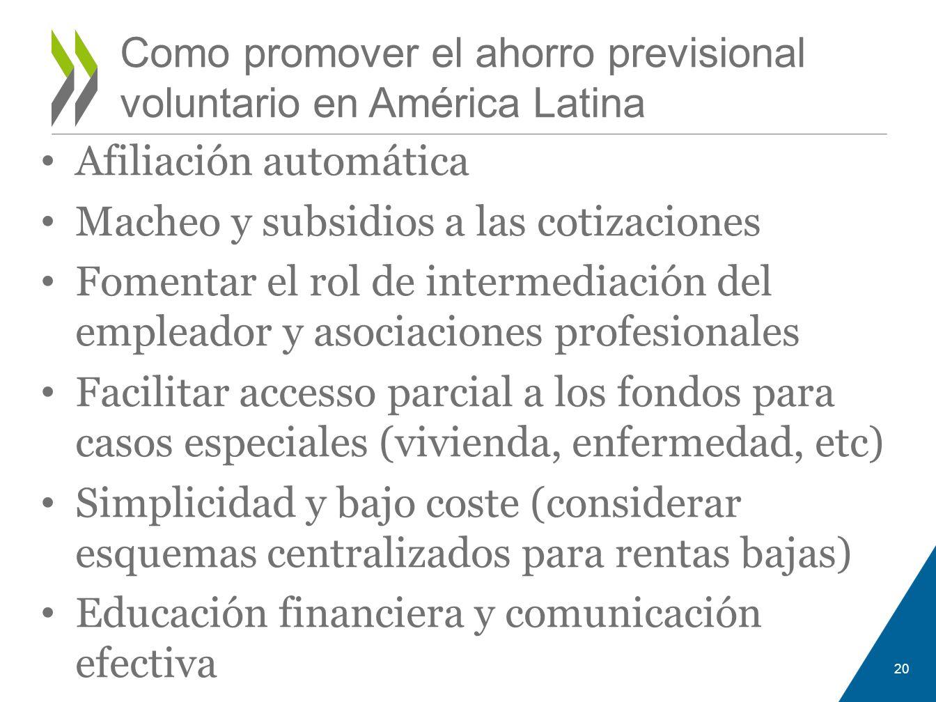 Como promover el ahorro previsional voluntario en América Latina
