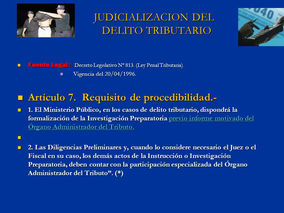 JUDICIALIZACION DEL DELITO TRIBUTARIO