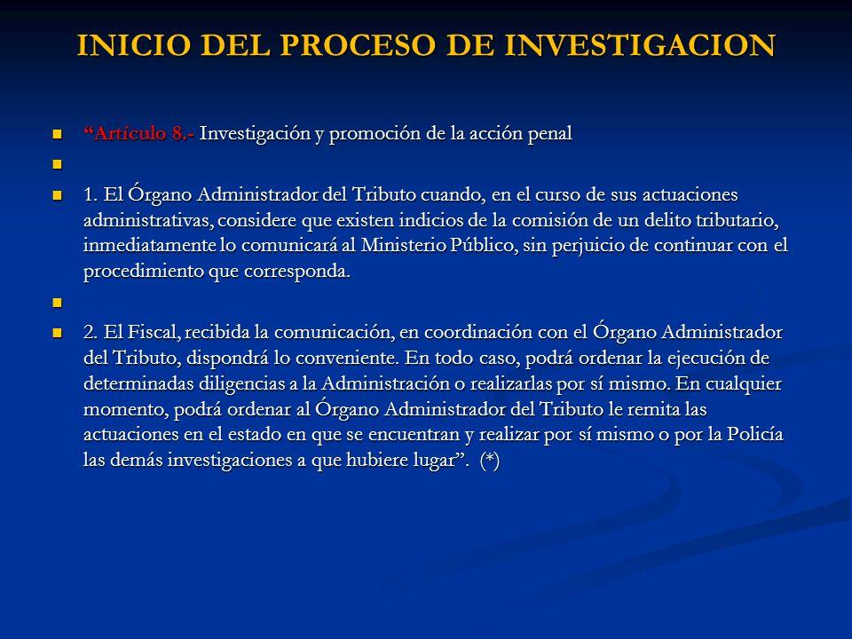 INICIO DEL PROCESO DE INVESTIGACION
