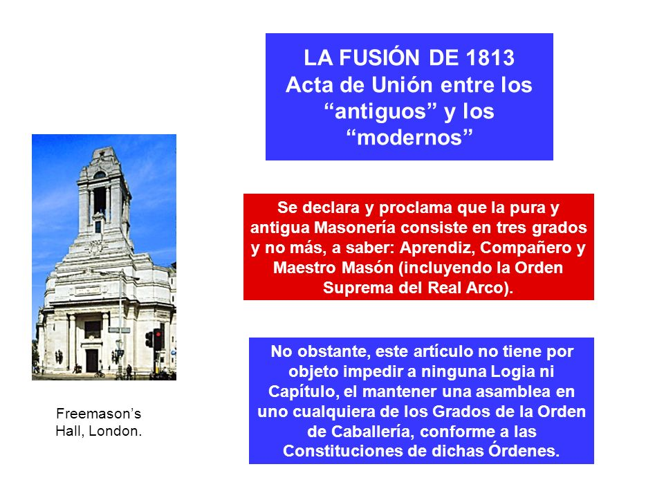 LA FUSIÓN DE 1813 Acta de Unión entre los antiguos y los modernos