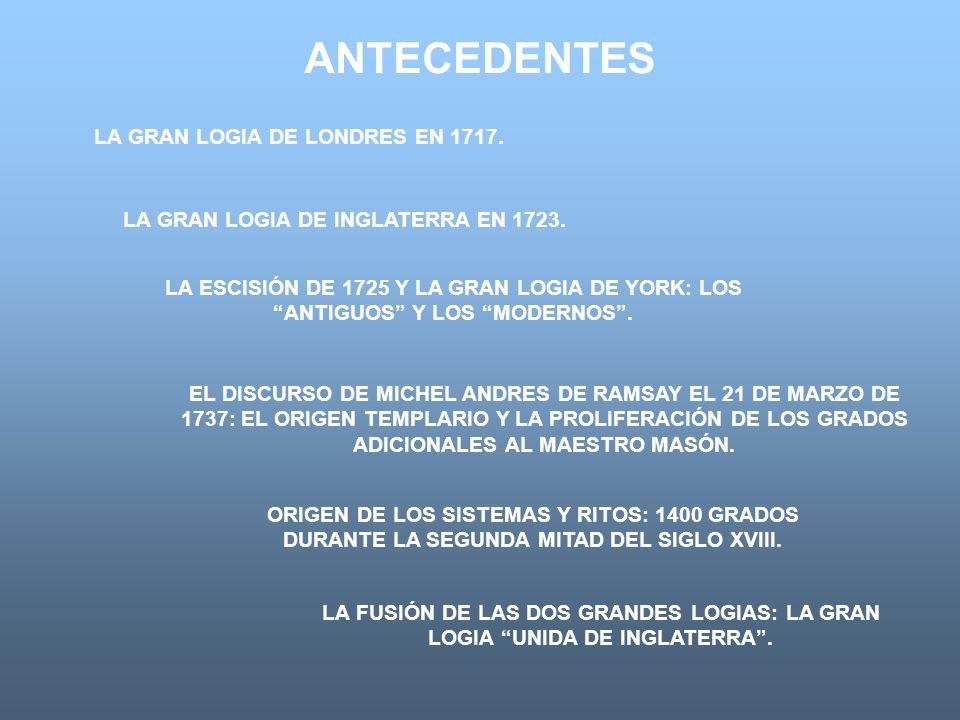 LA GRAN LOGIA DE LONDRES EN 1717. LA GRAN LOGIA DE INGLATERRA EN 1723.