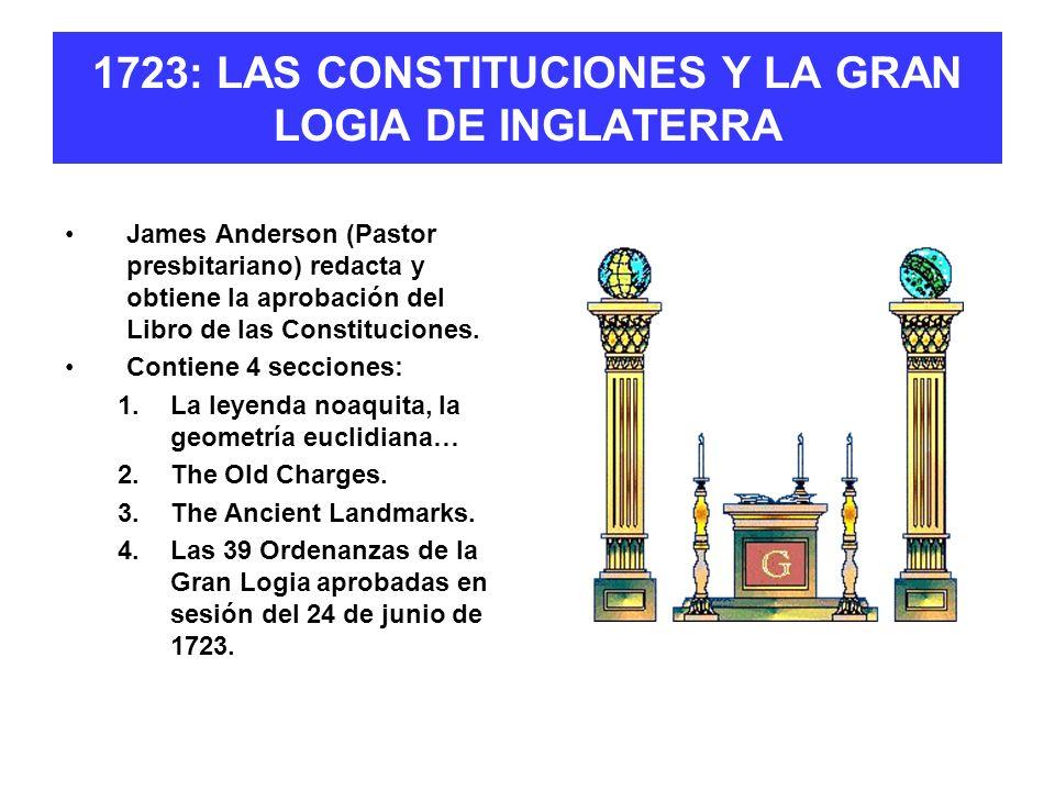 1723: LAS CONSTITUCIONES Y LA GRAN LOGIA DE INGLATERRA