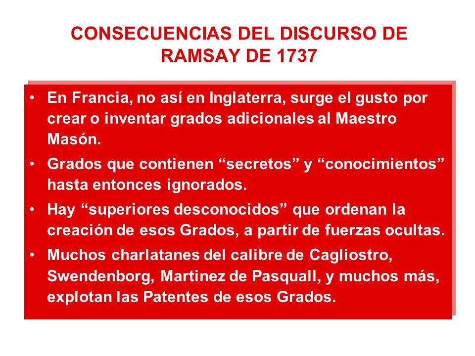 CONSECUENCIAS DEL DISCURSO DE RAMSAY DE 1737