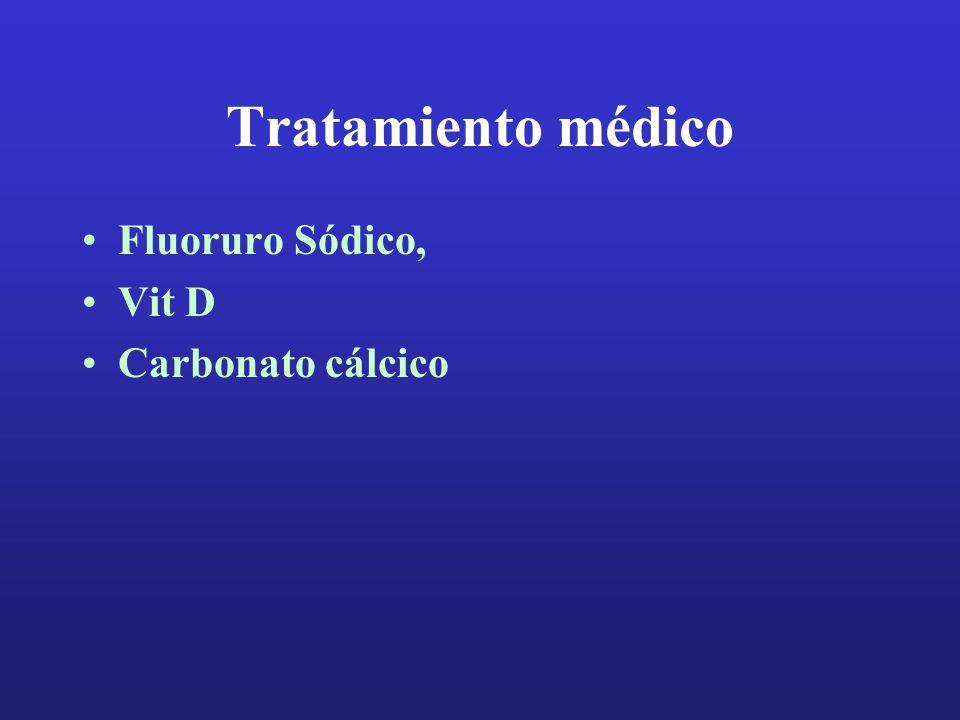 Tratamiento médico Fluoruro Sódico, Vit D Carbonato cálcico
