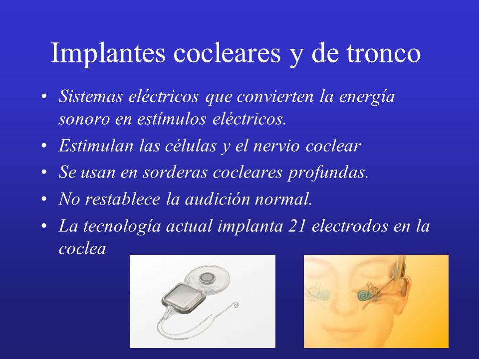 Implantes cocleares y de tronco