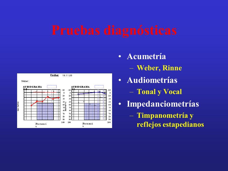 Pruebas diagnósticas Acumetría Audiometrías Impedanciometrías