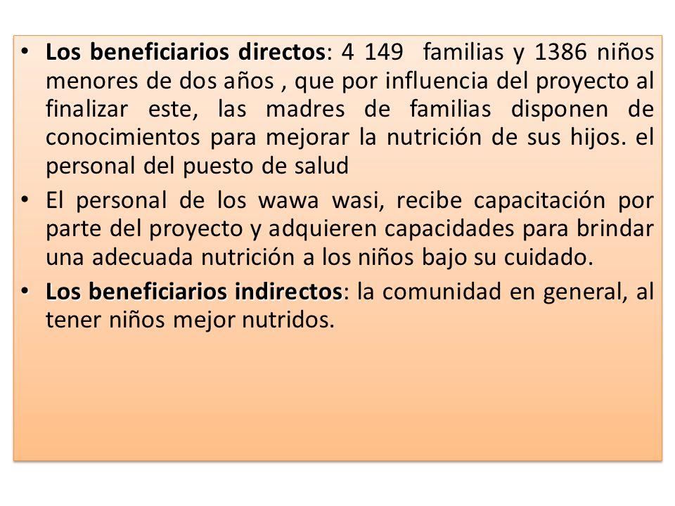 Los beneficiarios directos: 4 149 familias y 1386 niños menores de dos años , que por influencia del proyecto al finalizar este, las madres de familias disponen de conocimientos para mejorar la nutrición de sus hijos. el personal del puesto de salud