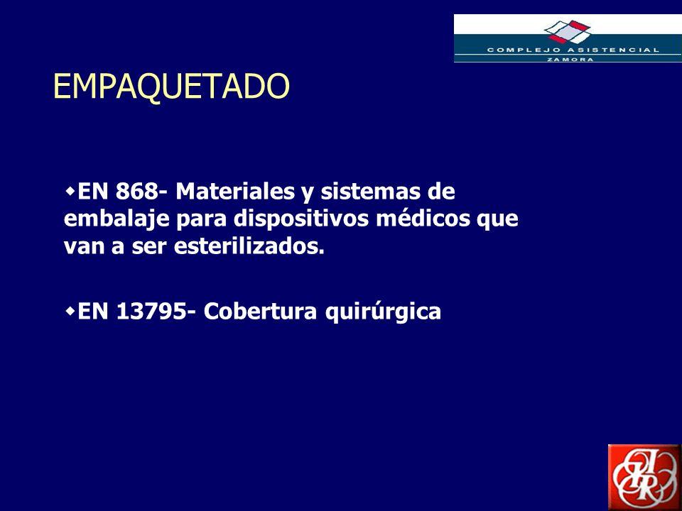 EMPAQUETADO EN 868- Materiales y sistemas de embalaje para dispositivos médicos que van a ser esterilizados.