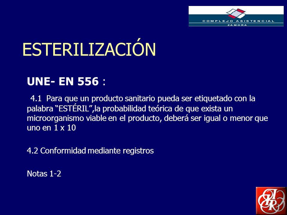 ESTERILIZACIÓN UNE- EN 556 :