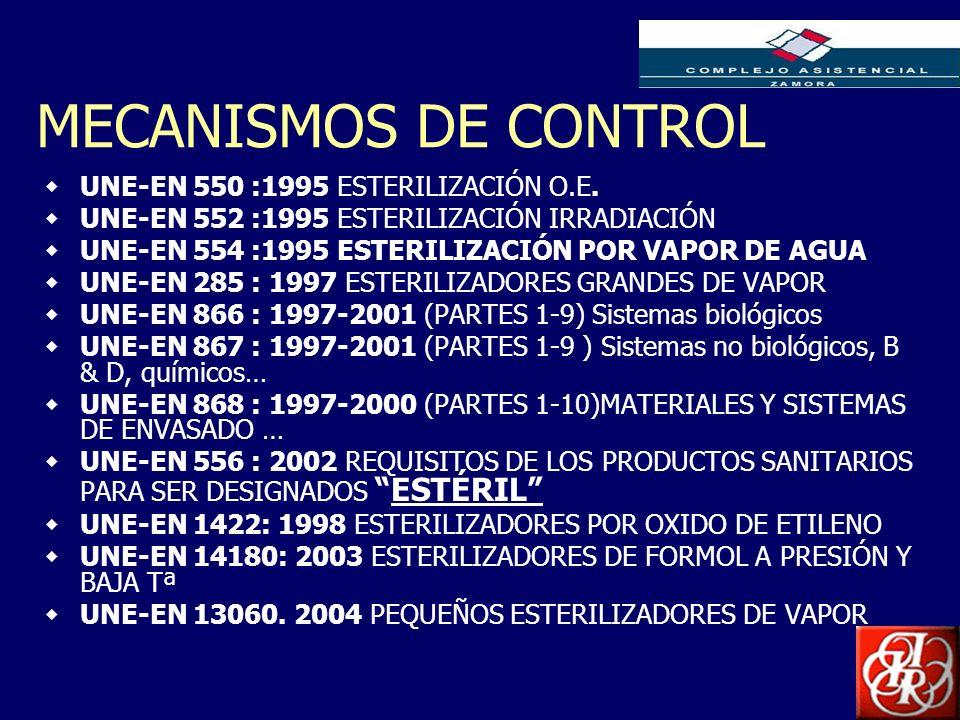MECANISMOS DE CONTROL UNE-EN 550 :1995 ESTERILIZACIÓN O.E.