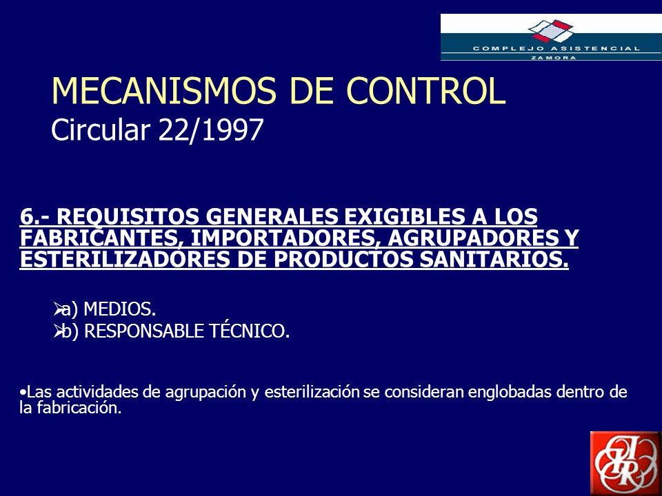 MECANISMOS DE CONTROL Circular 22/1997