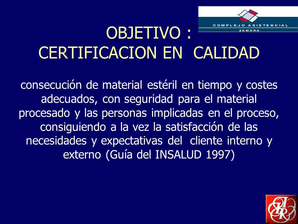 OBJETIVO : CERTIFICACION EN CALIDAD