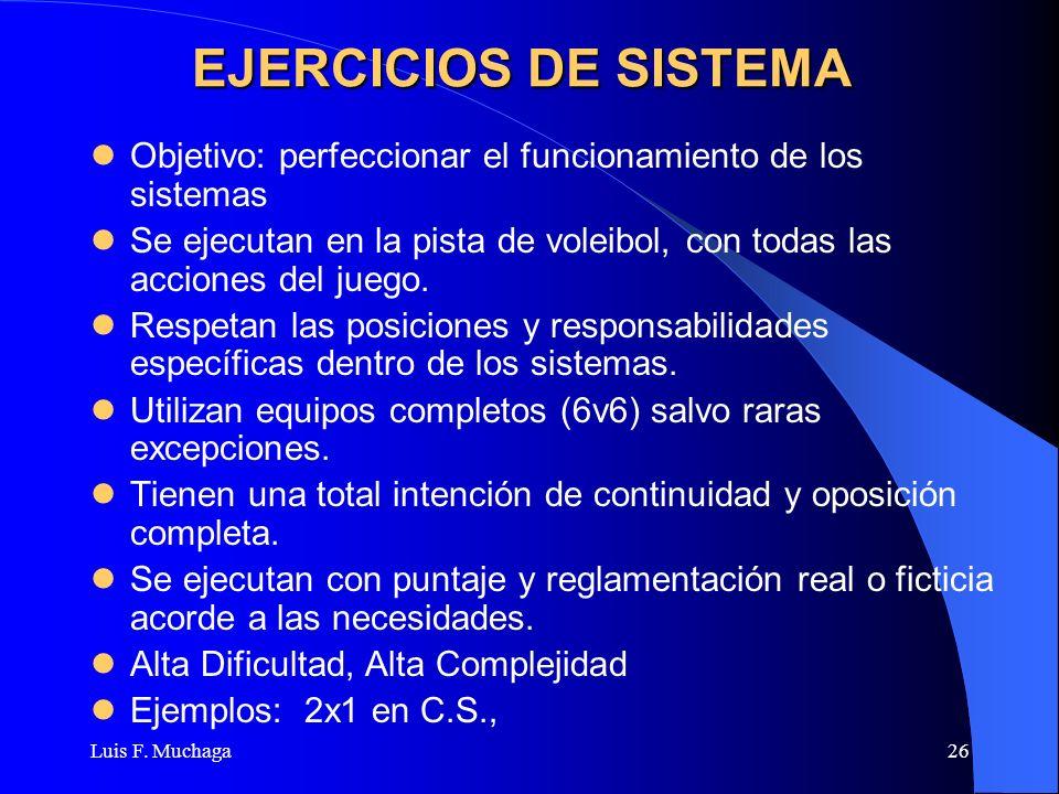 EJERCICIOS DE SISTEMA Objetivo: perfeccionar el funcionamiento de los sistemas.