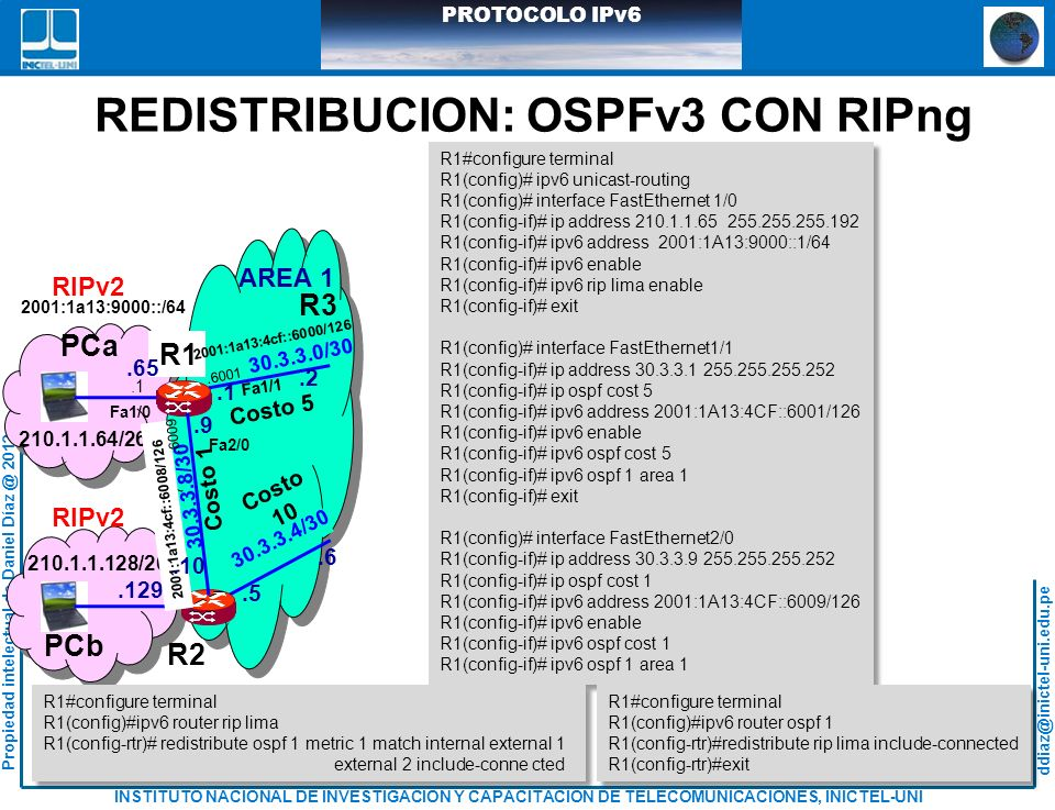 REDISTRIBUCION: OSPFv3 CON RIPng