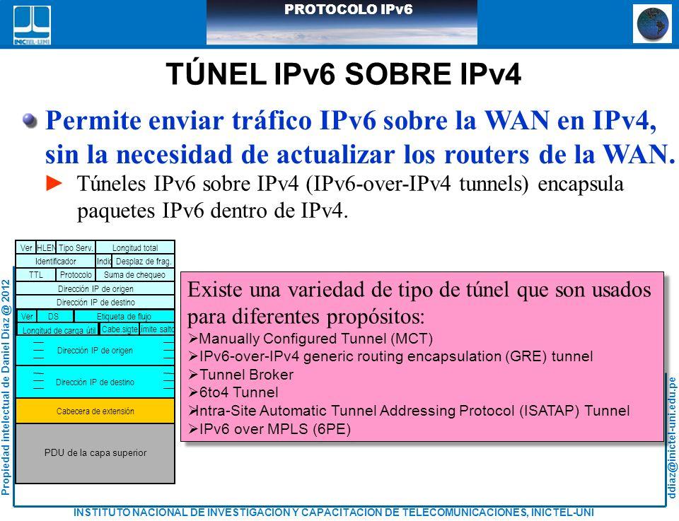 TÚNEL IPv6 SOBRE IPv4 Permite enviar tráfico IPv6 sobre la WAN en IPv4, sin la necesidad de actualizar los routers de la WAN.