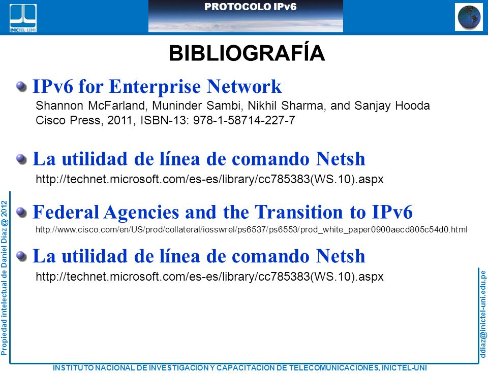 BIBLIOGRAFÍA IPv6 for Enterprise Network