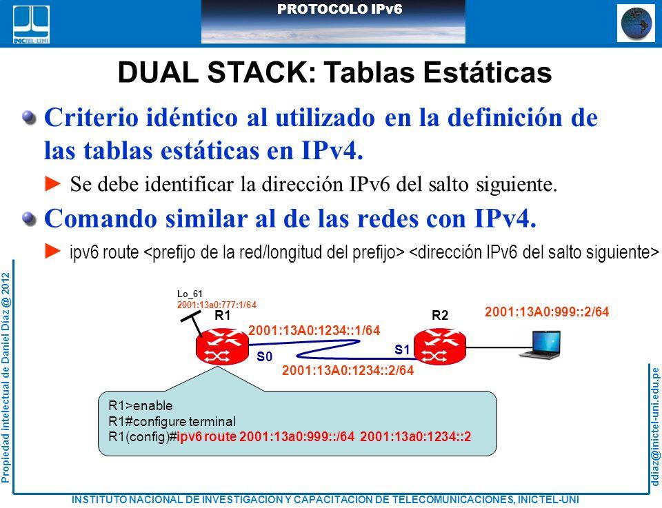 DUAL STACK: Tablas Estáticas