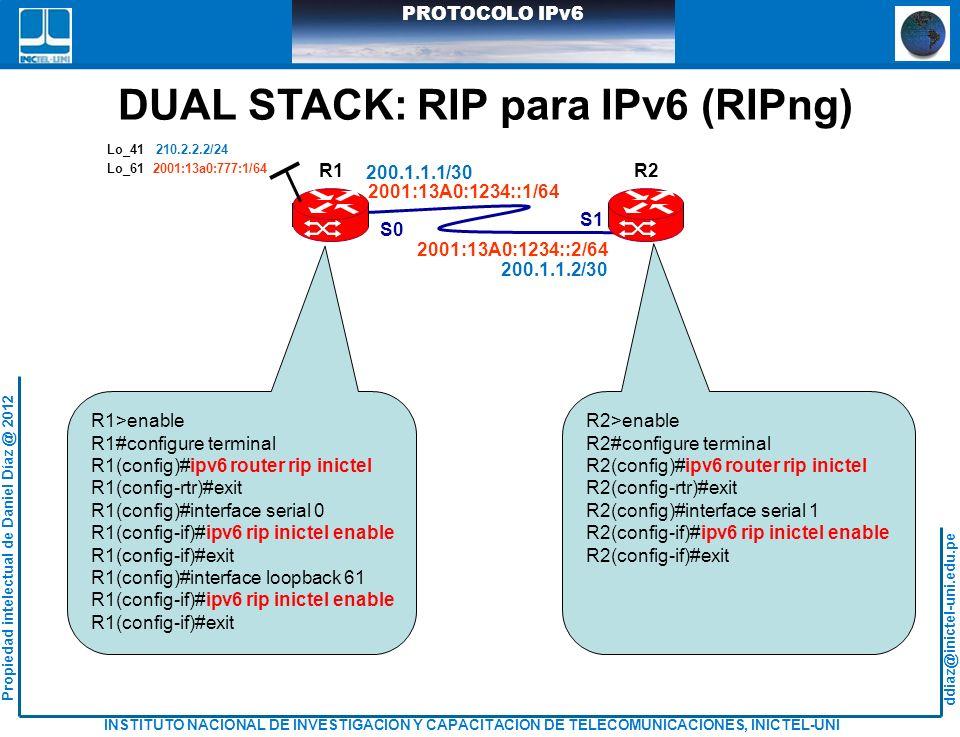 DUAL STACK: RIP para IPv6 (RIPng)