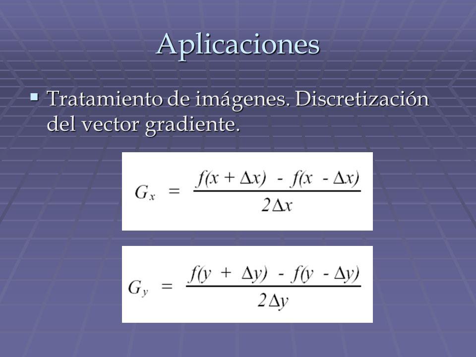 Aplicaciones Tratamiento de imágenes. Discretización del vector gradiente.
