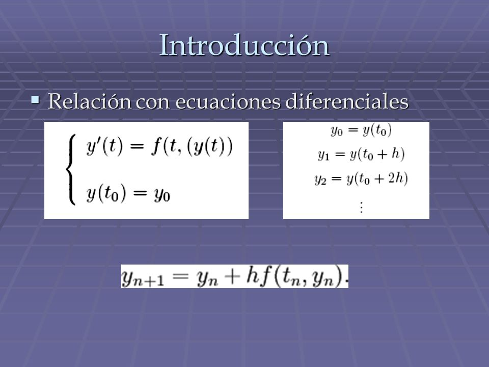 Introducción Relación con ecuaciones diferenciales