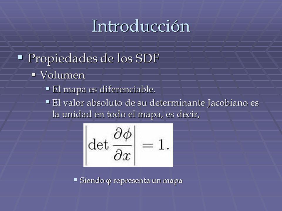 Introducción Propiedades de los SDF Volumen El mapa es diferenciable.