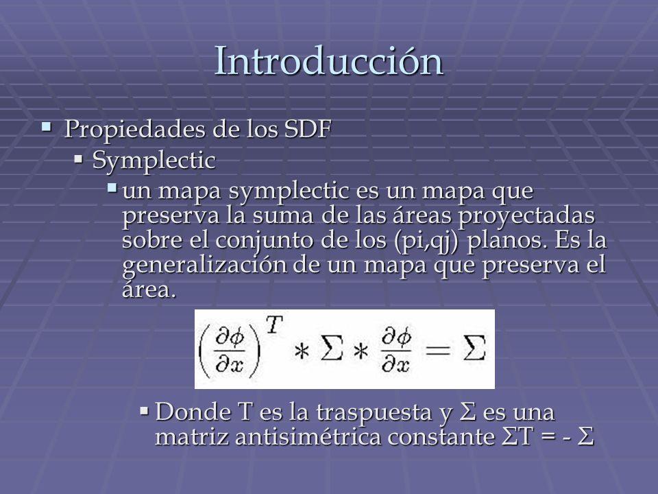 Introducción Propiedades de los SDF Symplectic