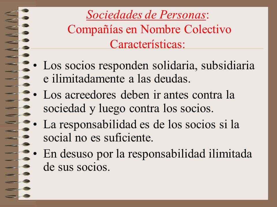 Sociedades de Personas: Compañías en Nombre Colectivo Características: