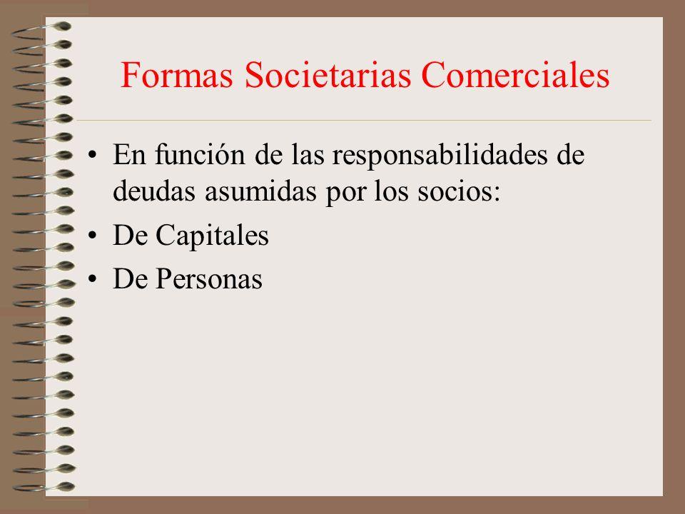 Formas Societarias Comerciales
