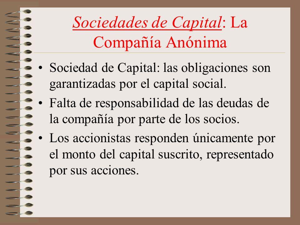 Sociedades de Capital: La Compañía Anónima