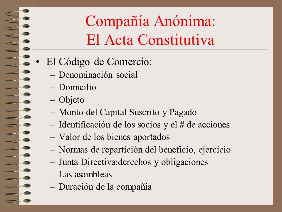 Compañía Anónima: El Acta Constitutiva