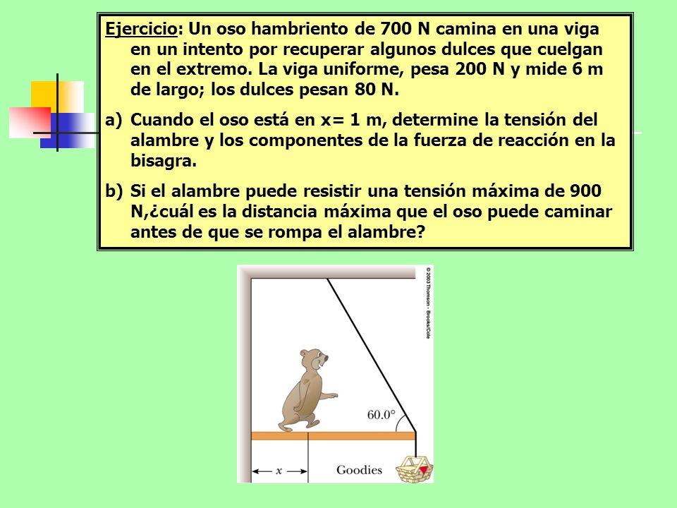 Ejercicio: Un oso hambriento de 700 N camina en una viga en un intento por recuperar algunos dulces que cuelgan en el extremo. La viga uniforme, pesa 200 N y mide 6 m de largo; los dulces pesan 80 N.
