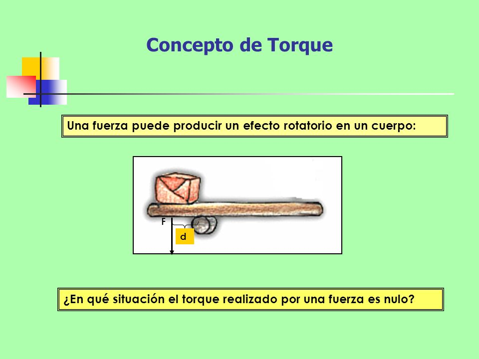 Concepto de Torque Una fuerza puede producir un efecto rotatorio en un cuerpo: F.