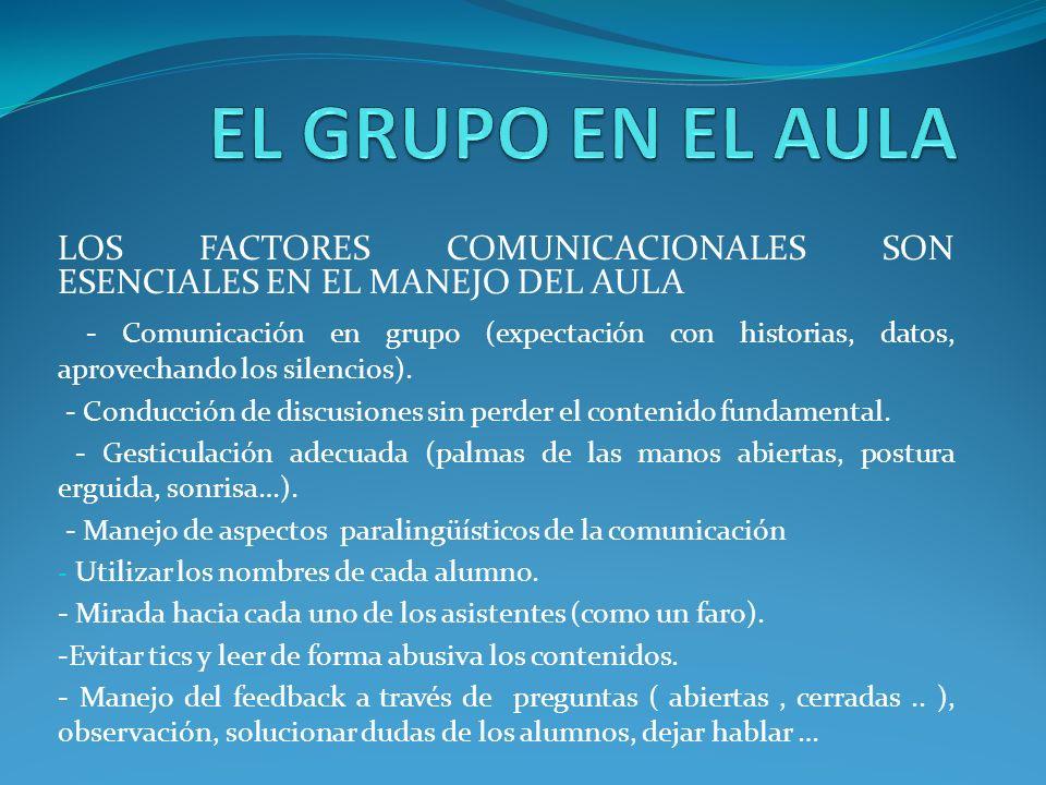 EL GRUPO EN EL AULA LOS FACTORES COMUNICACIONALES SON ESENCIALES EN EL MANEJO DEL AULA.