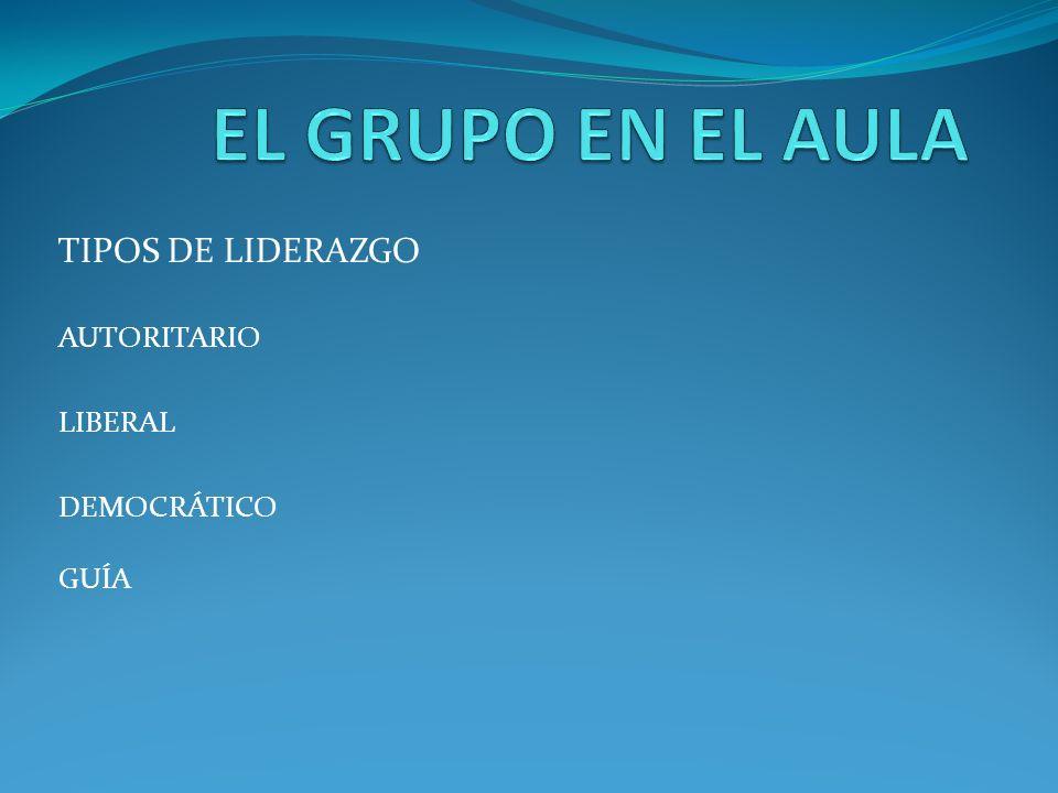 TIPOS DE LIDERAZGO AUTORITARIO LIBERAL DEMOCRÁTICO GUÍA