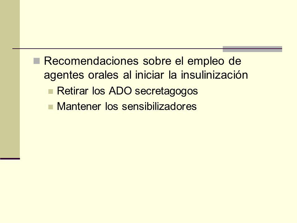 Recomendaciones sobre el empleo de agentes orales al iniciar la insulinización