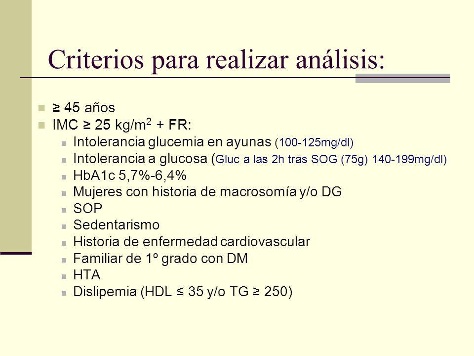 Criterios para realizar análisis: