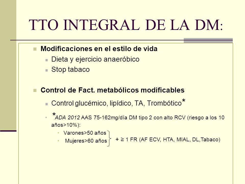 TTO INTEGRAL DE LA DM:Modificaciones en el estilo de vida. Dieta y ejercicio anaeróbico. Stop tabaco.