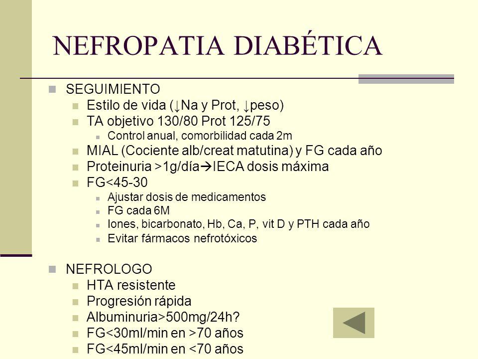 NEFROPATIA DIABÉTICA SEGUIMIENTO Estilo de vida (↓Na y Prot, ↓peso)