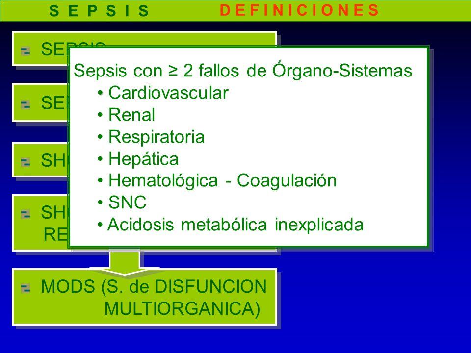 Sepsis con ≥ 2 fallos de Órgano-Sistemas Cardiovascular Renal