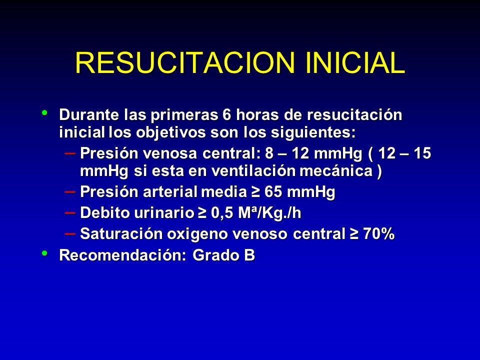 RESUCITACION INICIAL Durante las primeras 6 horas de resucitación inicial los objetivos son los siguientes: