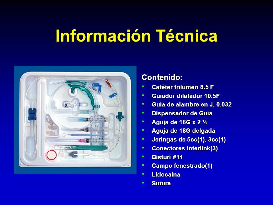 Información Técnica Contenido: Catéter trilumen 8.5 F