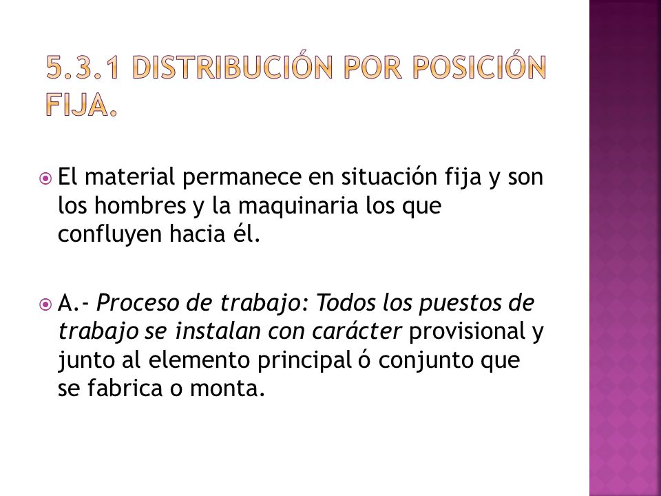 5.3.1 Distribución por posición fija.
