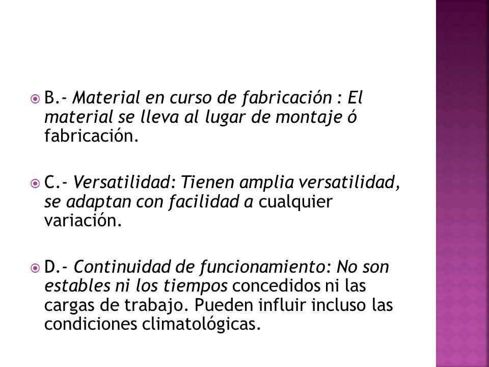 B.- Material en curso de fabricación : El material se lleva al lugar de montaje ó fabricación.